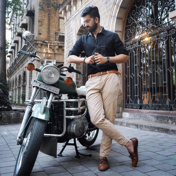 EVOQ - Dark Night Party Wear Shirt - Royal Enfield Bike - The Vogue and Fit