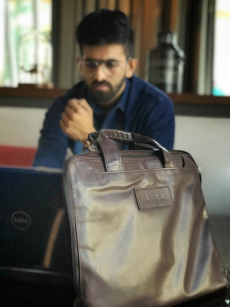 EVOQ - Le Chocolat Laptop Sleeve - Indigo Denim Menswear Casual Shirt - The Vogue and Fit