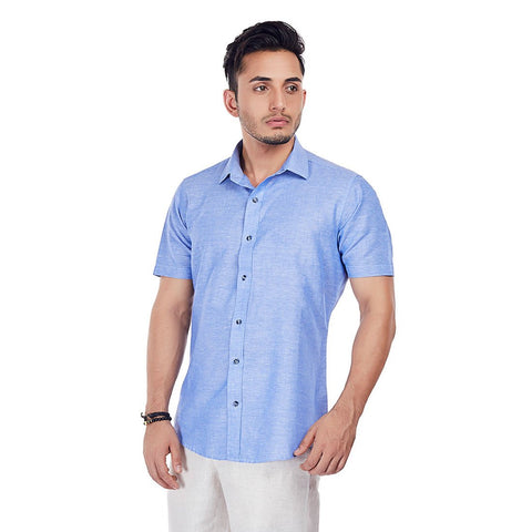 Azure Aura - Sky Blue Half-Sleeves Linen Formal and Casual Wear Shirt, Shirts, EVOQ, EVOQ - evoqstyle.com