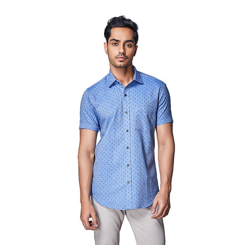 Blue Melange - Blue Colour Melange Printed Cotton Half Sleeve Spread Collar Shirt, Shirts, EVOQ, EVOQ - evoqstyle.com
