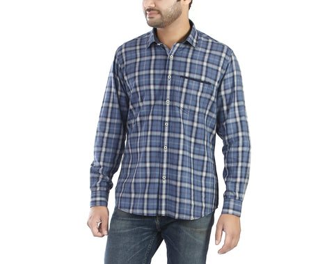 Blue Nile - Blue flannel full sleeves cotton casual wear shirt, Shirts, EVOQ, EVOQ - evoqstyle.com