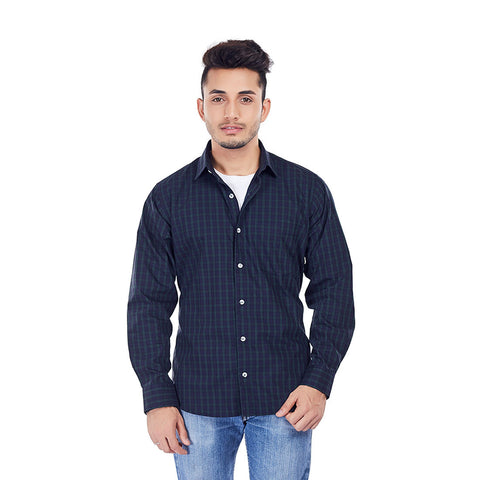 Bottled Blue Checks - Premium Cotton Chequered Full-Sleeves Shirt, Shirts, EVOQ, EVOQ - evoqstyle.com