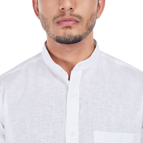Chalked Out - White Color Premium Linen Full-Sleeves Formal and Casual Shirt, Shirts, EVOQ, EVOQ - evoqstyle.com