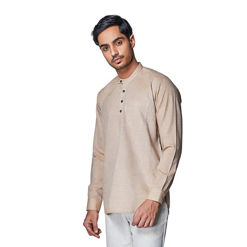 Dessert Sand - Brown Cotton Linen Full Sleeve Stylized Mandarin Collar Shirt with Patch and Two Side Pockets, Shirts, EVOQ, EVOQ - evoqstyle.com