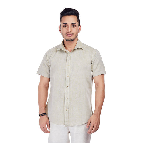 English Biscuit - Brown Colored Premium Linen Formal and Casual Wear Shirt, Shirts, EVOQ, EVOQ - evoqstyle.com