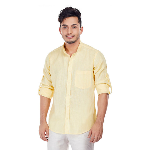 Hawaiian Dandelions - Yellow Colored Premium Linen Formal Wear and Casual Wear Shirt, Shirts, EVOQ, EVOQ - evoqstyle.com