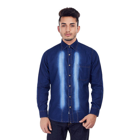Indigo Denim Shirt - Blue Faded Wash Denim Evening Wear and Party Wear Shirt, Shirts, EVOQ, EVOQ - evoqstyle.com