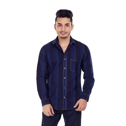 Indigo Stripes - Blue Stripe Casual Wear and Evening Wear/Party Wear Shirt, Shirts, EVOQ, EVOQ - evoqstyle.com