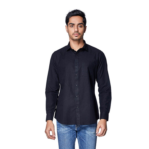 MIB - Black Cotton Linen Full Sleeve Spread Collar Shirt, Shirts, EVOQ, EVOQ - evoqstyle.com