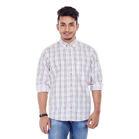 Milky Gingham - White Colored Checkered Cotton Formal Wear Shirt, Shirts, EVOQ, EVOQ - evoqstyle.com
