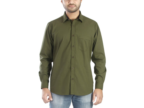 Oliver - Olive green full sleeves cotton shirt, Shirts, EVOQ, EVOQ - evoqstyle.com