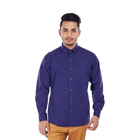 Pinstripe Parade - Purple Color Stripe Cotton Formal Wear and Casual Wear Shirt, Shirts, EVOQ, EVOQ - evoqstyle.com