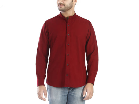 Plum Shot - Maroon coloured full sleeves cotton shirt., Shirts, EVOQ, EVOQ - evoqstyle.com