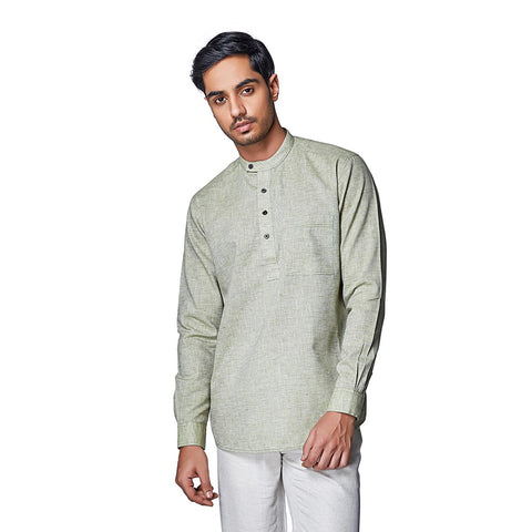 Rainforest Green - Green Cotton Linen Full Sleeve Stylized Mandarin Collar Shirt with Patch and Two Side Pockets, Shirts, EVOQ, EVOQ - evoqstyle.com