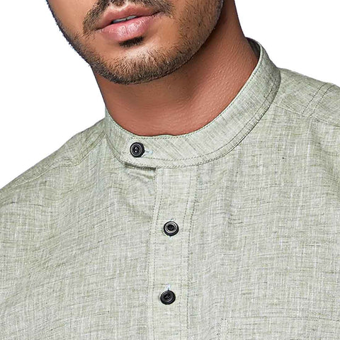 Rainforest Green - Green Cotton Linen Full Sleeve Stylized Mandarin Collar Shirt with Patch and Two Side Pockets