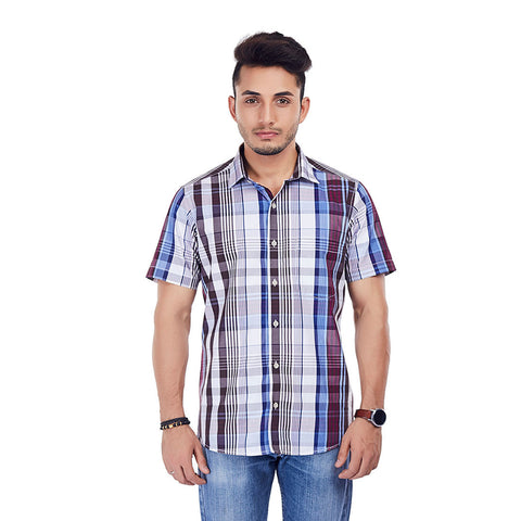 Rhythm and Blues - Half-sleeves Checkered Cotton Casual Wear and Party Wear Shirt, Shirts, EVOQ, EVOQ - evoqstyle.com