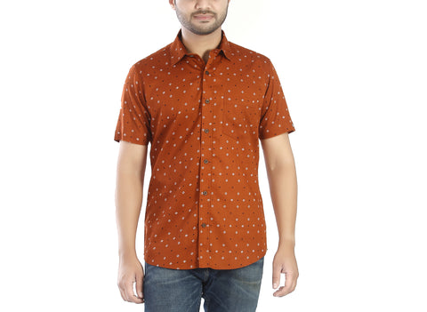 Rusty Road - Rust orange half sleeves cotton shirt with unique geometric motifs., Shirts, EVOQ, EVOQ - evoqstyle.com