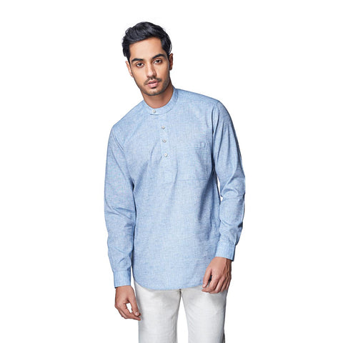 Scandinavian Skies - Sky Blue Cotton Linen Full Sleeve Stylized Mandarin Collar Shirt with Patch and Two Side Pockets