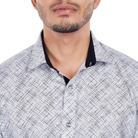 Scratch Attack - Black and White Printed Half-Sleeve Cotton Casual Wear Shirt, Shirts, EVOQ, EVOQ - evoqstyle.com
