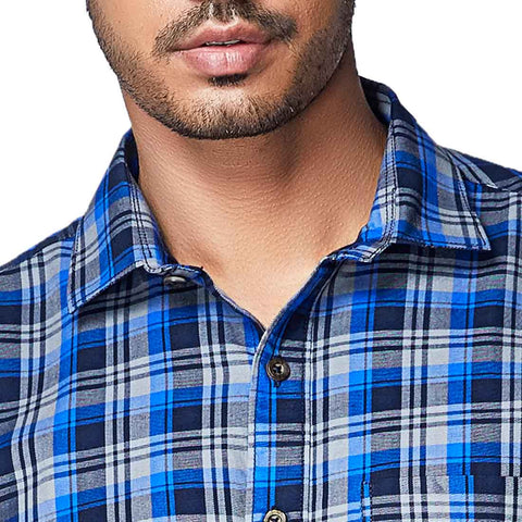 Summer Blues - Two Toned Blue Cotton Chequered Full Sleeve Spread Collar Shirt