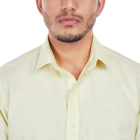 Summer Moon - Light Yellow Premium Linen Formal Wear Shirt, Shirts, EVOQ, EVOQ - evoqstyle.com