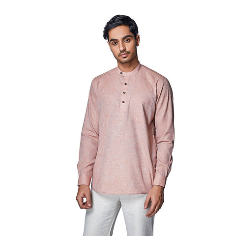 Sunset Salmon - Pastel Pink Cotton Linen Full Sleeve Stylized Mandarin Collar Shirt with Patch and Two Side Pockets, Shirts, EVOQ, EVOQ - evoqstyle.com
