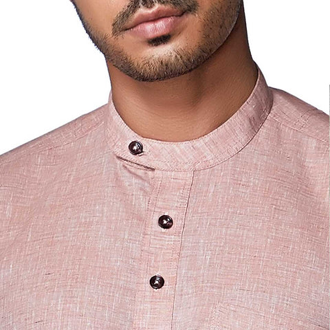 Sunset Salmon - Pastel Pink Cotton Linen Full Sleeve Stylized Mandarin Collar Shirt with Patch and Two Side Pockets