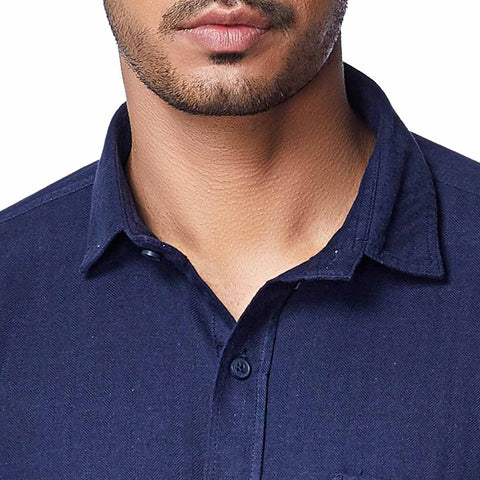 The Navy Seal - Full Sleeves Navy Blue Brushed Cotton Shirt