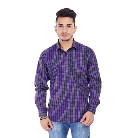 The Purple Rush - Purple Checkered Cotton Formal Wear, Casual Wear and Party Wear Shirt, Shirts, EVOQ, EVOQ - evoqstyle.com