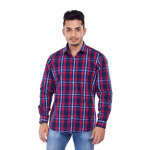The Red Tartan - Red Color Checkered Cotton Formal Wear and Party Wear Shirt, Shirts, EVOQ, EVOQ - evoqstyle.com