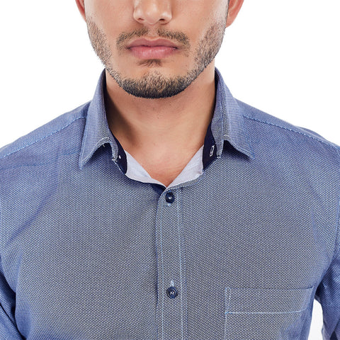 The Tetrapod - Blue Cotton Printed Formal Wear Shirt, Shirts, EVOQ, EVOQ - evoqstyle.com