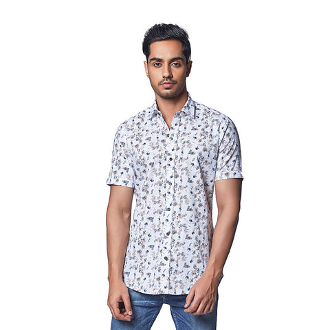 Tropical Fern - White Cotton Linen Printed Half Sleeve Spread Collar Shirt