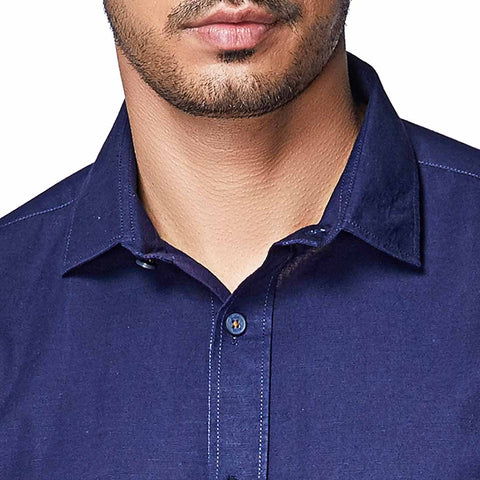 Vintage Blue - Navy Blue Cotton Linen Full Sleeve Spread Collar Shirt, Shirts, EVOQ, EVOQ - evoqstyle.com