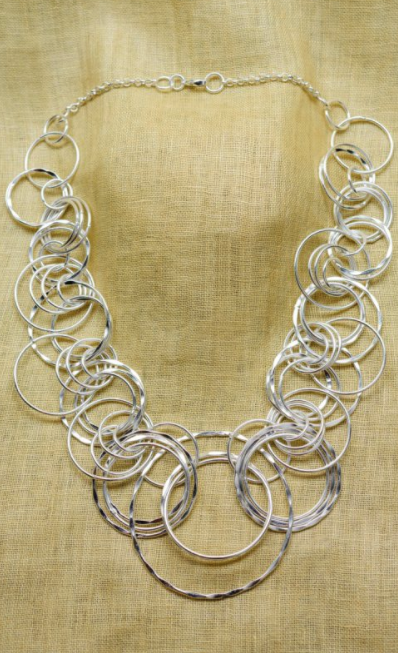 Elegant Hammered Silver Rings Necklace
