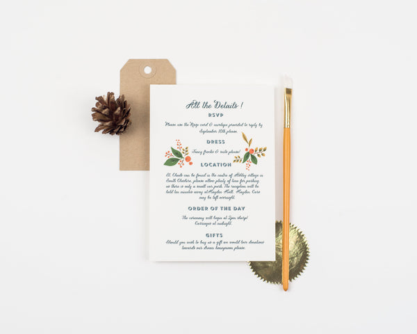 Fir Cone Wedding Invitation Sample Set