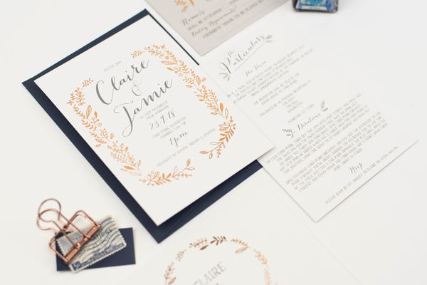 Letterpress foil - Hedgerow Wedding Invitation Sample Collection