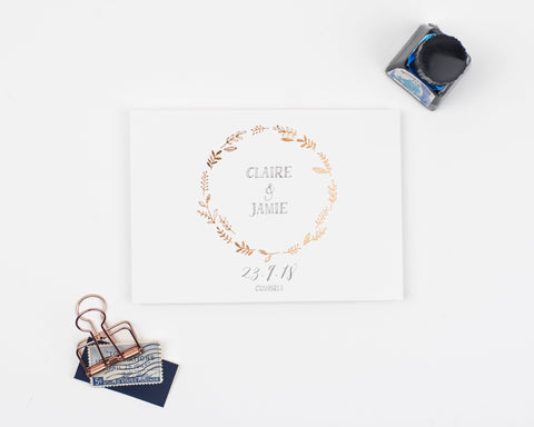 Letterpress foil - Hedgerow Save the Date Card