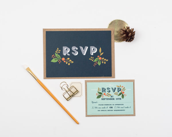 Fir Cone Wedding Invitation Set