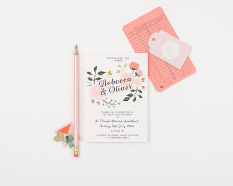 Peony Wedding Invitation Set