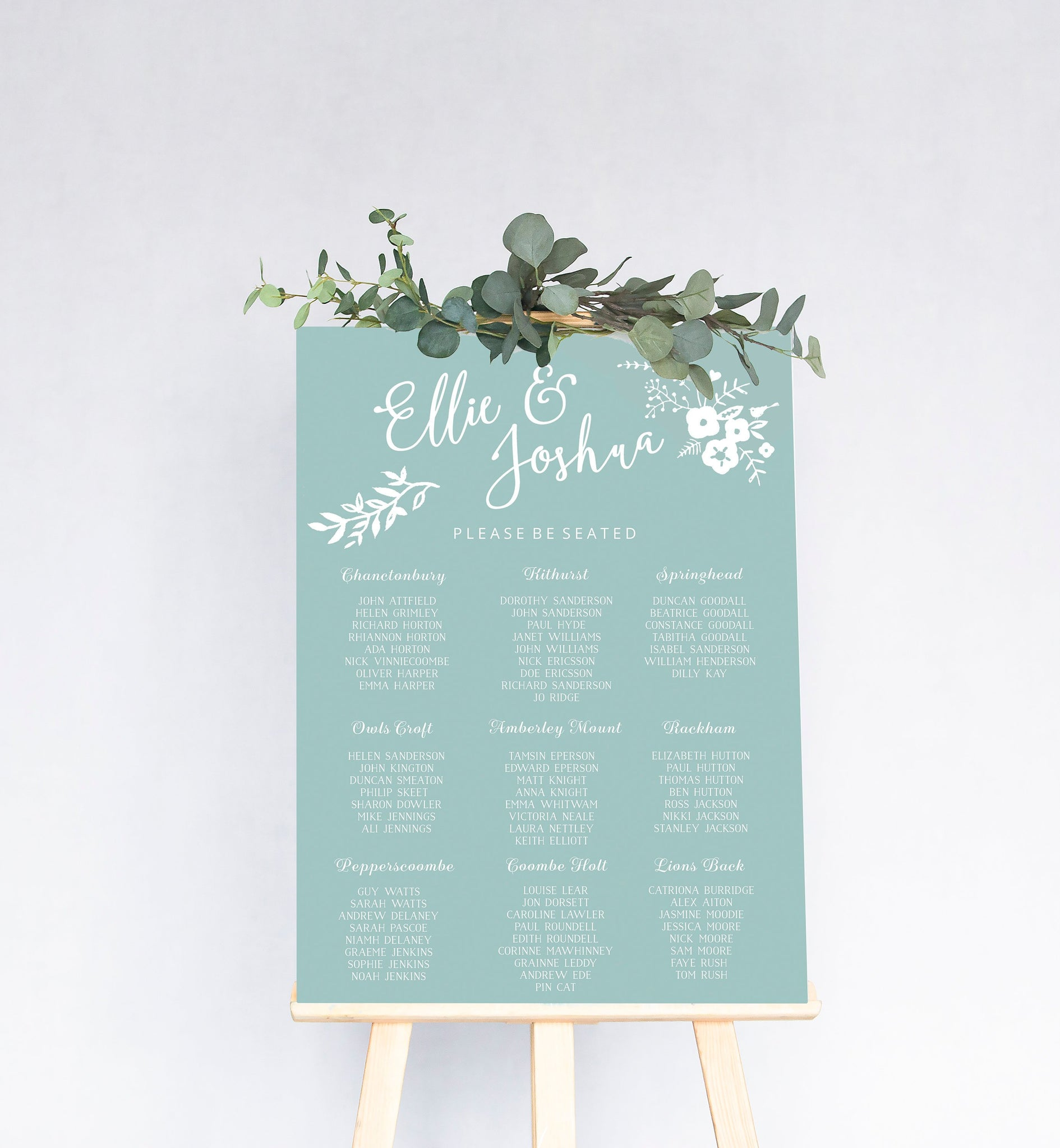 Boho Wedding Table Plan