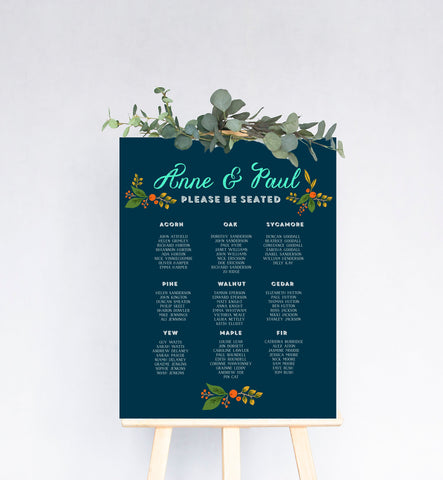 Fir Cone Wedding Table Plan