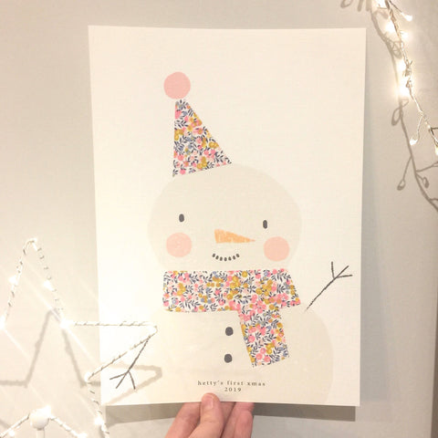 Liberty Print Snowman Nursery Art