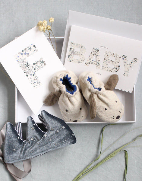 Luxury new baby gift box by The Charming Press featuring Liberty print personalised gifts.