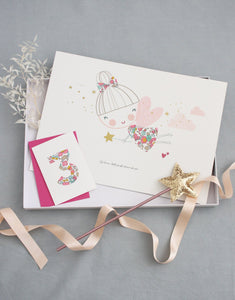 Liberty print birthday gift box including fairy print and wand by The Charming Press.