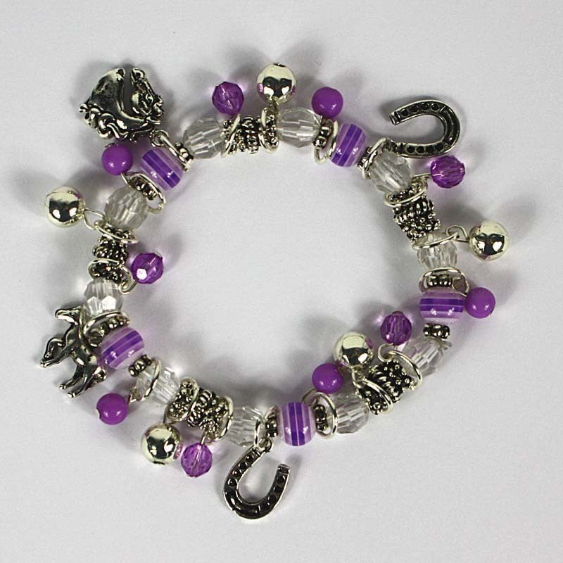 Purple Bead Stretch Bracelet With Horse Charms