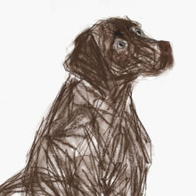 Load image into Gallery viewer, buttons, chocolate labrador - card & print