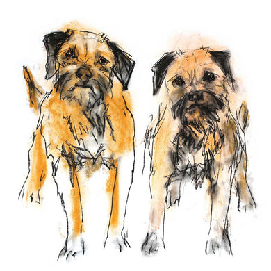 double trouble, border terriers - card