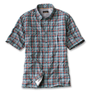 Open Air Plaid SS Casting Shirt - Dusty Blue