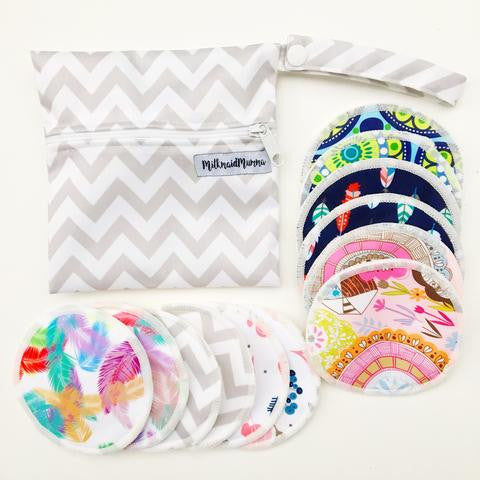 ASSORTED PATTERNS NURSING PAD PACK - 6 pairs of reusable bamboo nursing pads with a Free wetbag