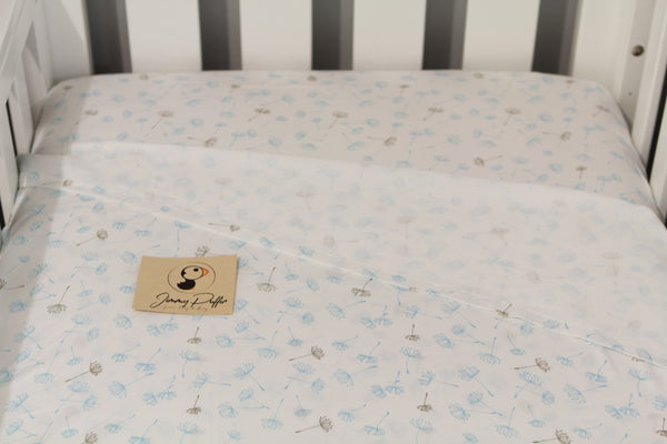 Jimmy Puffin - Cot Sheet Sets - Blowin' in the Breeze - Pale Blue